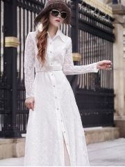 Women's Brand Fashion Lace Front Single Breasted Full-sleeve Floor-length White Maxi Dress White Maxi Dresses, White Dress, Women Brands, Wholesale Clothing, Single Breasted, Fashion Brand, Lace, Sleeves, Shirts