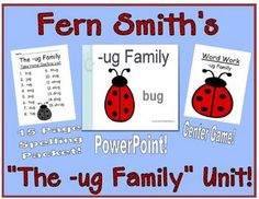 Fern Smith's The -ug Family Packet ~ PowerPoint, Center Game & Spelling Bundle  Adorable Bug Theme! This packet contains a PowerPoint, Center Game & Spelling Bundle! $5