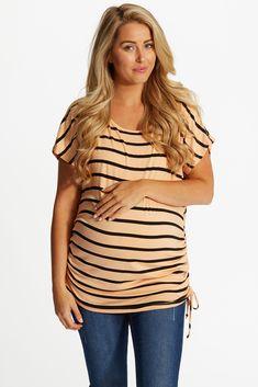 Peach-Black-Striped-Cap-Sleeve-Maternity-Top #peachstripetop #cutematernityclothes