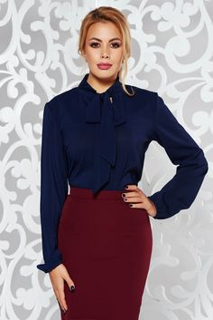 StarShinerS darkblue women`s blouse elegant flared voile fabric, easy cut, long sleeves, voile fabric, thin fabric, slightly transparent fabric
