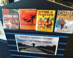 Library Book Display ~ people running on the cover for some reason