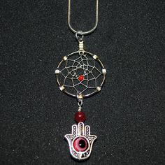 Small Dream Catcher Necklace with Hamsa Hand and Red Accents by OriginalsByCathy on Etsy