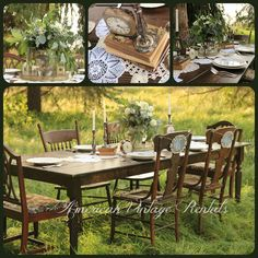Woodsy farm-style bridal table, set with hand-crocheted doilies, vintage books and silver pieces aged to the perfect patina. Mix-n-match wooden chairs complete the look. These items and more available to rent from AmericanVintageRentals.com
