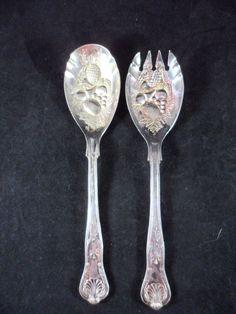Vintage Italian Salad Spoon & Fork 1940-1950 Silver