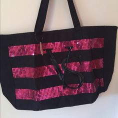 AUTHENTIC Huge Victoria's Secret Tote Bag Sparkle! Never used, with tags! In mint condition.  1 large compartment. Zipper closure. Victoria's Secret Bags Totes