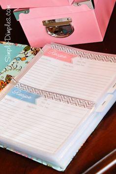 recipe binder printable & organization
