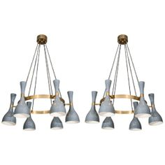 Pair of Suspension Italian 1950's Chandeliers