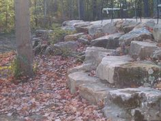 'Green County' Boulder Wall Used For Retaining, Steps and Seating Stone Bench, Outdoor Living, Outdoor Decor, Patio Design, Bouldering, Stepping Stones, Paths, Repurposed, Landscaping