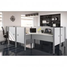 4 person office cubicles / Poste de travail pour 4 personnes Pro-Biz collection / colors: White and Chocolate Small Office Furniture, Commercial Office Furniture, Furniture For You, Office Workspace, Office Cubicles, Modular Workstations, White Oak Barrels, Small Computer, Desk Inspiration