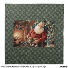 Santa Claus Holydays Christmas Bells red green Printed Napkin