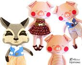 Red Riding Hood and Wolf Softie Sewing Pattern e Book PDF