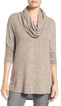 Petite Women's Gibson Convertible Neckline. Wonderfully cozy fleece knit will keep this pullover right at the front of your cool-weather closet. The relaxed style features a face-framing cowl neckline that can also be draped off the shoulder and a flowy high/low hem with side slits. (afflink)