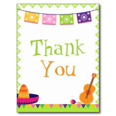 Fun fiesta party colorful birthday thank you card post cards