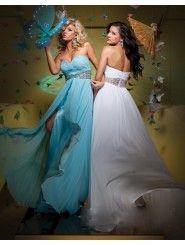 Chiffon A-Line Strapless Sweetheart Neckline Gathered Bodice Prom Dress