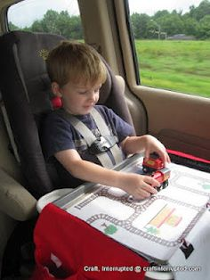 DIY Magnetic Travel Activity Tray. Free printables to go along with it. Great ideas.