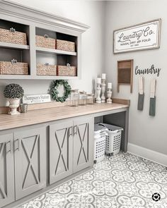 modern farmhouse laundry room with laundry room organization, laundry room storage, neutral laundry room with open shelves with gray cabinets and cement tile floor Mudroom Laundry Room, Laundry Room Remodel, Laundry Room Organization, Laundry Room Design, Storage Organization, Laundry Room Colors, Laundry Decor, Laundry Room Cabinets, Laundry Room Folding Table