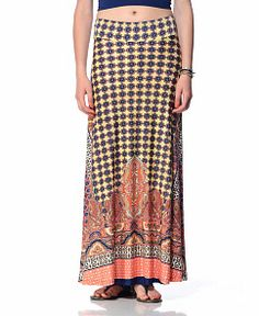 Veronica M Border Paisley Maxi Skirt in CORAL