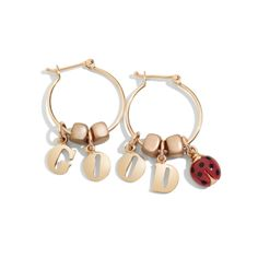 You're sure to look GOOD with these rose gold letterine Dodo earrings and the ladybug charm.