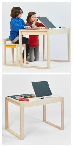 The design shows simple lines but offers some storage space under the table and also this blackboard to draw.