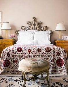 LeSueur Interiors: Lagniappe headboard nightstand bedspread blanket