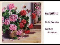 Pintar geranios , paint geraniums one stroke - YouTube