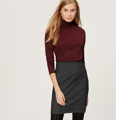 """In a mesmerizing mosaic pattern, this smooth and stretchy knit is forever flattering - and easy to wear. Elasticized waist. 18 1/2"""" long."""