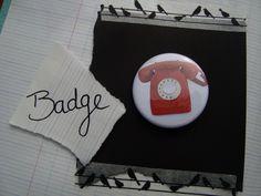 badge 38mm telephone vintage rouge : Pins, badges par artea