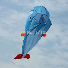 High Quality 3D Huge Soft Parafoil Giant Dolphin Blue Kite Outdoor Sport Dolphins Kites Easy to Fly Frameless flying toys