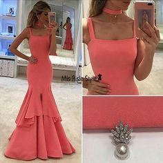 Mermaid Prom Dress,Straps Party Dress,Mermaid Coral Evening Dress