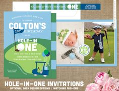 Hole-In-One Golf Themed Birthday Party Invitations / Hole in one 1st Birthday / Golf Ball, Cart, Flag, Optional Photo(s), Monogram, Golf Clubs / First Birthday or Any Age / DIY Printable or High Quality Printed Invitations / design by annahatcherdesign