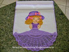 Pintura em Tecido e Artesanato: Boneca Pintada com Saia de Crochê…