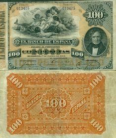 100 Pesetas Spain's Banknote Pick: 26 Date: 1884 Rainbow Loom, Ephemera, Dollhouse Miniatures, Seed Beads, Vintage World Maps, The 100, Stamps, Coins, Printables