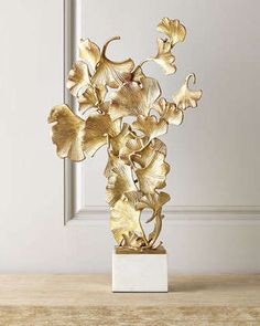Floating Ginkgo Leaves Sculpture by John-Richard Collection at Neiman Marcus.