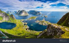 Reine, Lofoten, Norway. The Village Of Reine Under A Sunny, Blue Sky, With The Typical Rorbu Houses. View From The Top Of Reinebringen Mountain. Стоковые фотографии 318709145 : Shutterstock House Viewing, Lofoten, Aerial View, Amazing Nature, Norway, Landscape Photography, Sunrise, Italy, Stock Photos