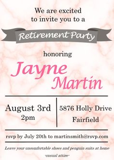 Banker Retirement Party Invitations  Retirement Invitations