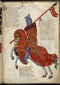 Pretty medieval manuscript of the day is a magnificent knight! This lovely Italian manuscript was almost certainly made for the King of Naples, and presented to him around 1335-40. The illuminator was a Florentine master calledPacino di Buonaguida.  Image source: British Library MS Royal 6E IX. Image declared as pubic domain on the British Library website.