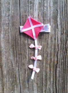 Kite Ribbon Sculpture Hair Clip - Toddler Hair Bows... Free Shipping Promo. $3.50, via Etsy.