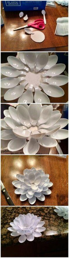 Diy plastic spoon flower