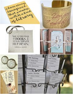 Though it would be fun to go all out with a library theme, that's not for everyone. Instead, try incorporating a few bookish touches into your own unique wedding day style, like bookmark save the dates, literary cuffs for bridesmaid gifts (and cufflinks for the guys), or a quotable out of town guest gift bag.