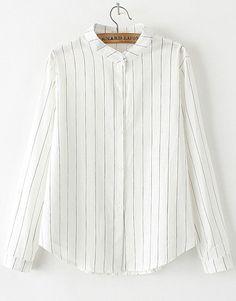 Black Long Sleeve Vertical Stripe Blouse