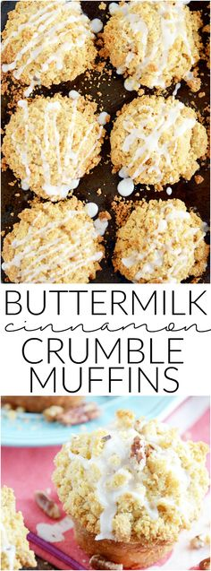 Big buttermilk cinnamon muffins topped with an extra helping of buttery streusel topping and a sweet glaze. Buttermilk Cinnamon Crumble Muffins recipe ~ Something Swanky