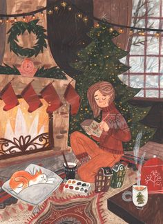 A cozy time on Behance Winter Illustration, Christmas Illustration, Cute Illustration, Winter Background, Christmas Drawing, Cozy Christmas, Love Art, Art Inspo, Drawings