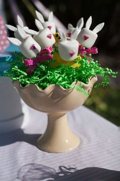 Loving the bunny cake pops at this Easter Party! See more party ideas and share yours at CatchMyParty.com