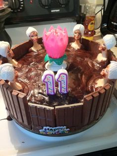 Carole Barden made this for her daughters 11th birthday. :)  Mud bath cake for Spa birthday party!!!