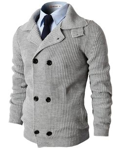 Mens Casual Knitted Slim Fit Double Breasted Cardigan Sweater (KMOCAL025) Doublju