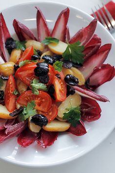 Red Chicory, New Potatoes and Tomatoes by Salad Pride, via Flickr