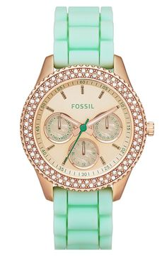 Fossil 'Stella' Crystal Bezel Multifunction Silicone Strap Watch, 37mm