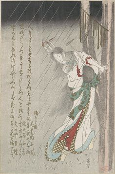 Woman in the Rain at Midnight Driving a Nail into a Tree to Invoke Evil on Her Unfaithful Lover. Totoya Hokkei  (1780–1850).  Japan. MET