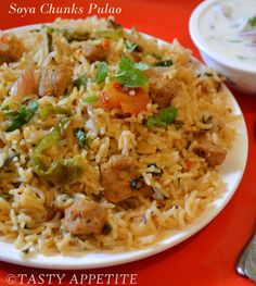 Tasty Appetite: Soya Chunks Pulao / Healthy Lunch Box Menus