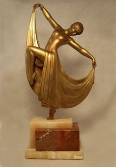 ♔ Classic French art decó spelter figure ~ by Gilbert ~ 1930's.